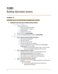 IS 3003 Lecture 12: Notes - Building Information Systems