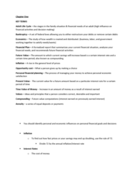 FIN 2050 Chapter Notes - Chapter 1: Spreadsheet, Opportunity Cost, Personal Finance