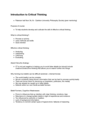 PHIL 2003 Lecture 1: Introduction to Critical Thinking