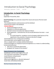 SOCPSY 1Z03 Lecture Notes - Lecture 1: Stanley Milgram, Role Theory, Social Psychology