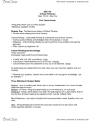 SSH 105 Lecture Notes - Lecture 1: Critical Thinking