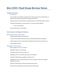 KINESIOL 2C03 Final: Final Exam Review Notes