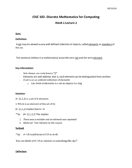 CISC 102 Lecture Notes - Lecture 2: Subset, Triangular Number, Multiset
