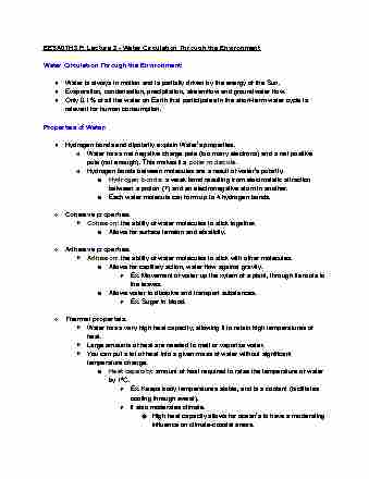 eesa07h3-lecture-2-water-lecture-2-notes