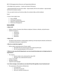 MGT 315 Study Guide - Midterm Guide: Job Satisfaction, Workflow, Job Performance