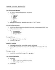 AGR 2320 Lecture Notes - Lecture 13: Soil Structure, Soil Horizon, Parent Material