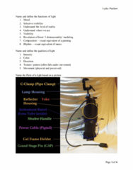 TH 2190 Study Guide - Midterm Guide: Cyc, Sealed Beam, Light Plot