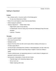 ENG2131 Lecture 10: Sailing to Sarantium Notes