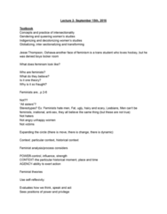 WGS200Y5 Lecture Notes - Lecture 2: Feminist Theory, Indian Act, Eurocentrism