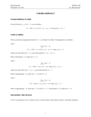 MATH 1200 Midterm: Review for Midterm 2