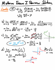 MATH 125 Midterm: MATH 125 - Midterm Exam I Review - Solution