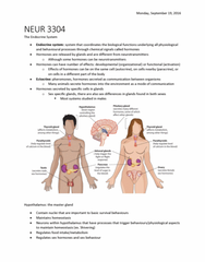 NEUR 3304 Lecture Notes - Lecture 2: Circadian Rhythm, Median Eminence, White Adipose Tissue