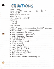 CHEM 2011 Midterm: Equations for Ch 1-5