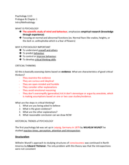 PSYC 1115 Lecture Notes - Lecture 1: Wilhelm Wundt, Edward B. Titchener, Scientific Method