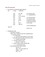 CPSC 355 Lecture Notes - Lecture 30: File Descriptor, Assembly Language, Standard Streams