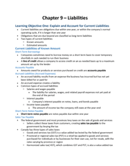 COMMERCE 1AA3 Chapter Notes - Chapter 9: Contingent Liability, Harmonized Sales Tax, Accrual