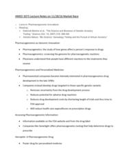 HMED 3075 Lecture Notes - Lecture 18: Pharmacogenomics, Pharmacogenetics, Personalized Medicine