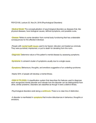 PSYCO105 Lecture 22: Nov.24 (Psychological Disorders)