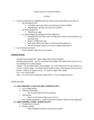 GEOG 1200 Lecture Notes - Lecture 2: Lower Paleolithic, Hunter-Gatherer, Homo Erectus
