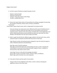 RELI 10203 Study Guide - Midterm Guide: Mantra, Samatha, Taoism