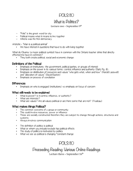 POLS 110 Midterm: POLS 110 Full Course Notes (Every Lecture and Reading)