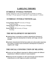 CRIM 104 Lecture Notes - Lecture 9: Howard S. Becker, George Herbert Mead, Juvenile Delinquency