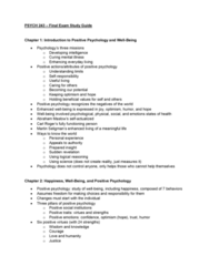 PSYCH 243 Study Guide - Midterm Guide: Positive Psychology