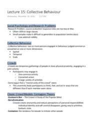 SOCPSY 1Z03 Lecture Notes - Lecture 15: Gustave Le Bon, Collective Behavior, Deindividuation