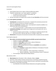 PSY 505 Lecture Notes - Lecture 10: Social Cognitive Theory, Walter Mischel, Albert Bandura