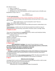 SOC 100 Lecture Notes - Lecture 2: Working Poor, Mass Media, A Natural Disaster