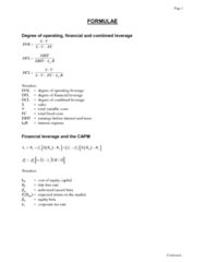 COMMERCE 3FA3 Study Guide - Final Guide: Foreign Exchange Spot, Purchasing Power Parity, Operating Leverage