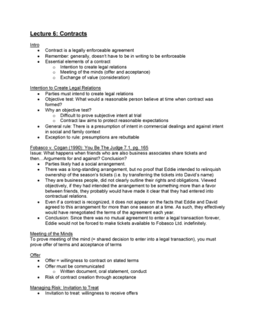 Law 122 Lecture 6 Contracts Oneclass
