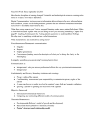 NURS1032 Lecture Notes - Lecture 5: Self-Awareness, Therapeutic Relationship, Linear Model