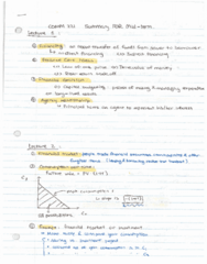 COMM 221 Final: COMM 221- Summary of Lecture 1 to 4 Time value of Money, some Basic Theorems.