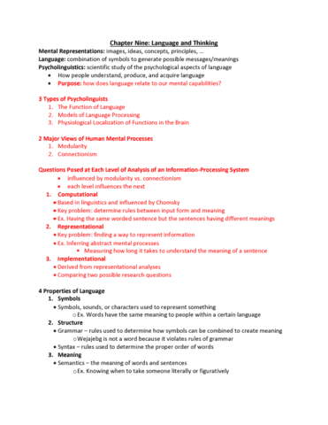 Psychology 1000 Midterm Chapter 9 Textbooklecture Oneclass