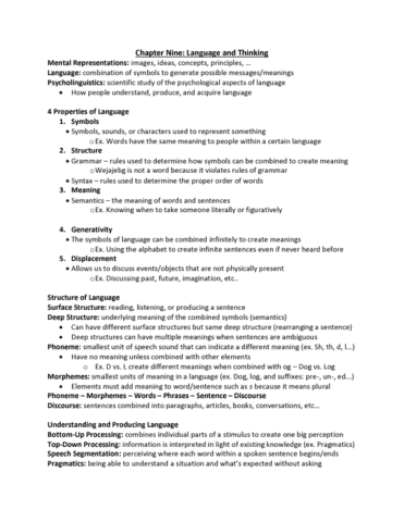 Psychology 1000 Chapter 9 Chapter 9 Summary Oneclass