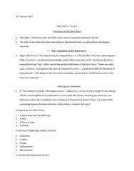 ENG 1120 Lecture Notes - Lecture 1: Iceberg, Ernest Hemingway, Synecdoche