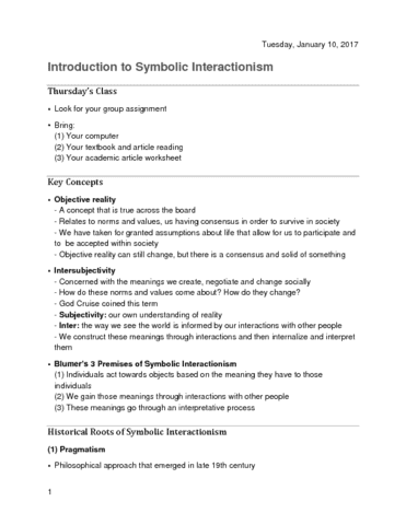 Socpsy 2m03 Lecture 1 1 Introduction To Symbolic Interactionism