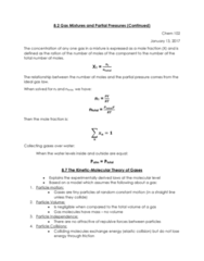 CHEM 102 Lecture Notes - Lecture 5: Kinetic Theory Of Gases, Ideal Gas Law, Elastic Collision