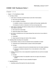 CHEM 1320 Chapter 1.3-1.5: CHEM 1320: Chapter 1.3-1.5 Textbook Note