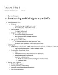 FLM&MDA 85B Lecture Notes - Lecture 6: Prime Time, Emmett Till, Cuban Missile Crisis