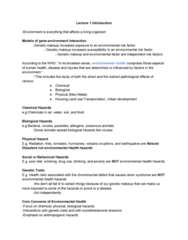 EESA10H3 Lecture Notes - Lecture 1: Asthma, Environmental Factor, Geosphere