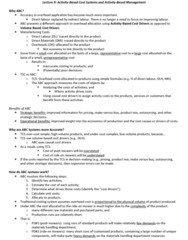 AYB321 Lecture Notes - Cost Driver, Deutsche Luft Hansa, Quality Control