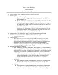 ENGL 2Q99 Lecture Notes - Lecture 2: Dionne Brand, Intersectionality, Melanin