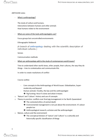 study guides for anth1030 at university of queensland oneclass rh oneclass com Environmental Problems Phase II Environmental Study