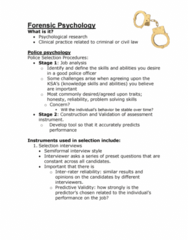 PSYC 2400 Lecture Notes - Lecture 1: Police Psychology, Assessment Centre, Job Performance