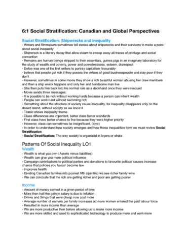 soc100h5 chapter 6 social stratification and global perspectives oneclass