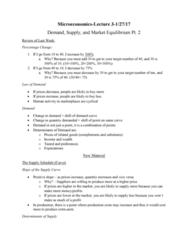 HON 1302 Lecture Notes - Lecture 2: Shortage, Peanut Butter, Economic Equilibrium