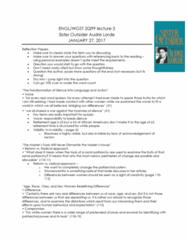 ENGL 2Q99 Lecture Notes - Lecture 3: Audre Lorde, Retirement Age, Lorde
