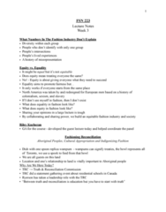 FSN 223 Lecture Notes - Lecture 3: Wampum, Cultural Genocide, Cultural Appropriation